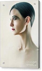 Acrylic Print featuring the photograph Beautiful Model Highkey Fashion Studio Portrait by Dimitar Hristov