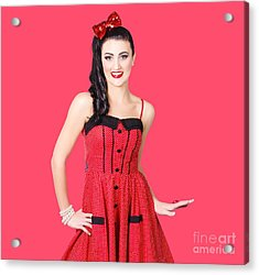 Beautiful Pinup Girl With Pretty Smile Acrylic Print by Jorgo Photography - Wall Art Gallery