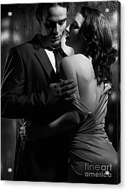 Beautiful Portrait Of Couple Standing Near Window On Rainy Night Acrylic Print