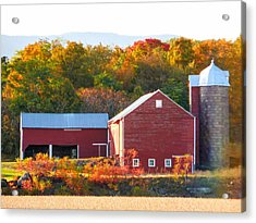 Acrylic Print featuring the painting Beautiful Red Barn 2 by Lanjee Chee