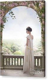 Beautiful Regency Woman Beneath A Wisteria Arch Acrylic Print