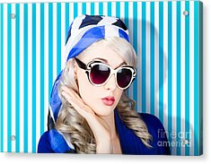 Beautiful Retro Pinup Girl In Scarf And Sunglasses Acrylic Print