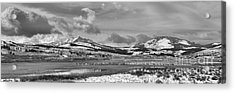 Beautiful Skies Over Swan Lake Flats Black And White Acrylic Print by Adam Jewell