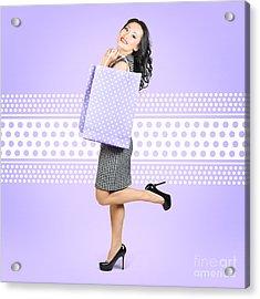 Beautiful Smiling Chinese Asian Shopping Woman  Acrylic Print by Jorgo Photography - Wall Art Gallery