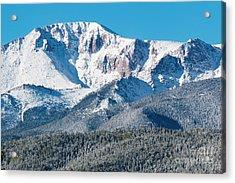 Beautiful Spring Snow On Pikes Peak Colorado Acrylic Print
