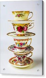 Beautiful Stacked Tea Cups Acrylic Print