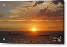Acrylic Print featuring the photograph Beautiful Sunset At Kaohsiung Harbor by Yali Shi