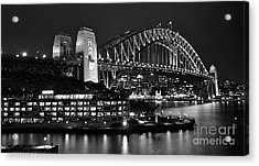 Beautiful Sydney Harbour In Black And White Acrylic Print