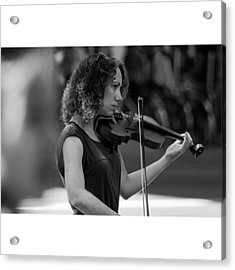 Beautiful Violinist On The Streets Of Acrylic Print