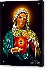 Beautiful Virgin Mary Sacred Heart Acrylic Print by Pamela Johnson