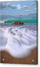 Beautiful Waves Under Full Moon At Coral Cove Beach In Jupiter, Florida Acrylic Print