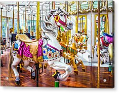 Beautiful White Carrousel Horse Acrylic Print