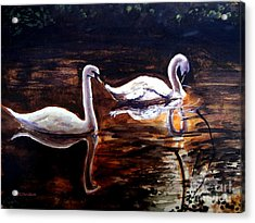 Acrylic Print featuring the painting Beautiful White Swans by Patricia L Davidson