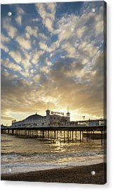 Beautiful Winter Sunset Landscape Of Brighton Pier On The South  Acrylic Print