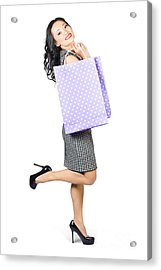 Beautiful Woman Holding Shopping Bags With Smile Acrylic Print