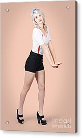 Beautiful Woman In Full Body Dressed As Pinup Girl Acrylic Print by Jorgo Photography - Wall Art Gallery