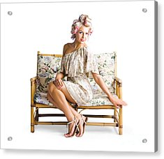 Beautiful Woman On Couch Acrylic Print by Jorgo Photography - Wall Art Gallery