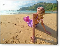 Beautiful Woman Sunbathing On Beach Acrylic Print