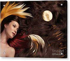 Beautiful Woman With Colorful Hair Extensions Acrylic Print by Oleksiy Maksymenko