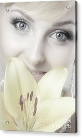 Beautiful Young Woman With A Yellow Lily Acrylic Print by Oleksiy Maksymenko