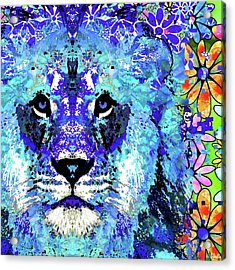 Acrylic Print featuring the painting Beauty And The Beast - Lion Art - Sharon Cummings by Sharon Cummings