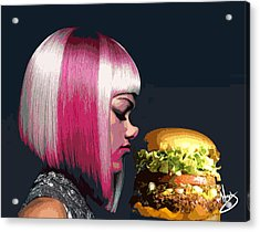 Beauty And The Burger Acrylic Print by Moxxy Simmons