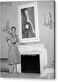 Beauty, Betty Furness, Poses With Her Likeness Behind Her. 1956 Acrylic Print by Anthony Calvacca