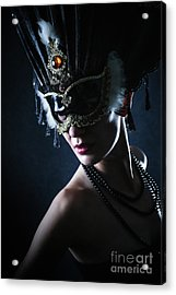 Acrylic Print featuring the photograph Beauty Model Wearing Venetian Masquerade Carnival Mask by Dimitar Hristov