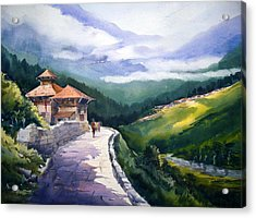 Acrylic Print featuring the painting Beauty Of Himalaya by Samiran Sarkar