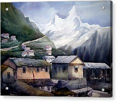 Acrylic Print featuring the painting Beauty Of Himalayan Village by Samiran Sarkar