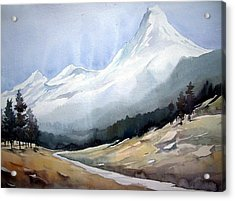 Acrylic Print featuring the painting Beauty Of Himlayan Peaks by Samiran Sarkar