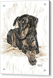Beauty Pose - Doberman Pinscher Dog With Natural Ears Acrylic Print by Kelli Swan