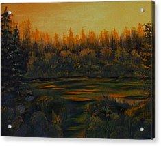 Beaver Pond At Sunset Acrylic Print by Rebecca  Fitchett