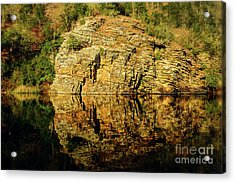 Beaver's Bend Rock Wall Reflection Acrylic Print by Tamyra Ayles