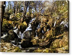Becky Falls With Texture Acrylic Print by David Hare