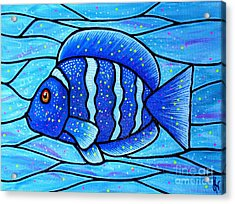 Beckys Blue Tropical Fish Acrylic Print by Jim Harris