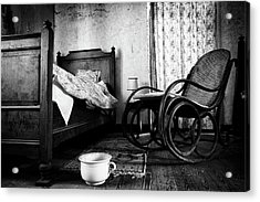 Acrylic Print featuring the photograph Bed Room Rocking Chair - Abandoned Building Bw by Dirk Ercken