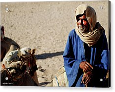 Bedouin Man In Blue Acrylic Print by Chaza Abou El Khair