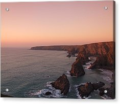 Bedruthan Steps Sunset Acrylic Print by Helen Northcott