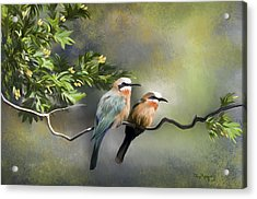 Acrylic Print featuring the digital art Bee-eater Birds by Thanh Thuy Nguyen