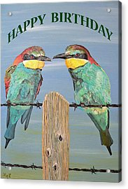 Bee Eaters Happy Birthday Acrylic Print