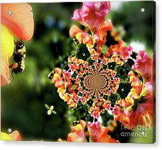 Bee On Snapdragon Flower Abstract Acrylic Print by Smilin Eyes  Treasures