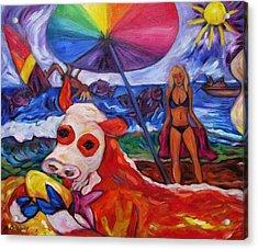 Beefy Eats Burga At The Beach Acrylic Print
