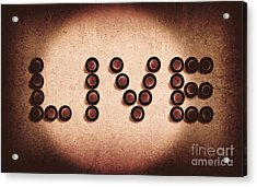 Beer Bottles Spelling Out The Word Live Acrylic Print by Jorgo Photography - Wall Art Gallery