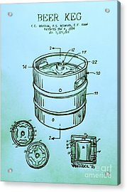 Beer Keg 1994 Patent - Blue Acrylic Print by Scott D Van Osdol