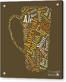 Acrylic Print featuring the digital art Beer Lovers Tee by Edward Fielding