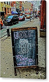 Acrylic Print featuring the photograph Beer Sign by Sandy Moulder