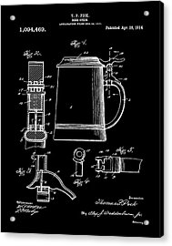 Beer Stein Patent 1914 In Black Acrylic Print
