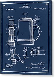 Beer Stein Patent 1914 In Blue Acrylic Print
