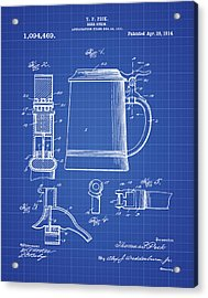 Beer Stein Patent 1914 In Blue Print Acrylic Print